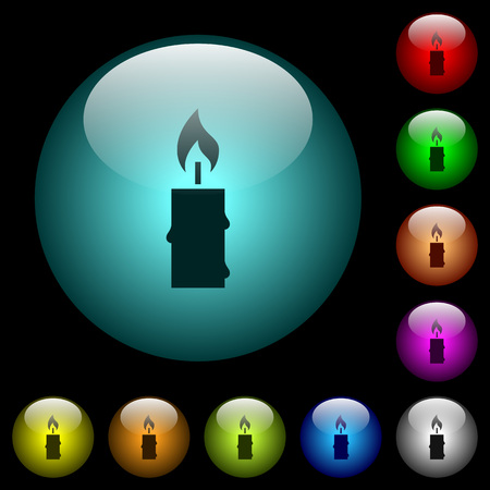 Burning candle with melting wax icons in color illuminated spherical glass buttons on black background.