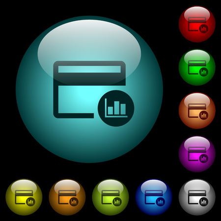 Credit card transaction reports icons in color illuminated spherical glass buttons on black background.