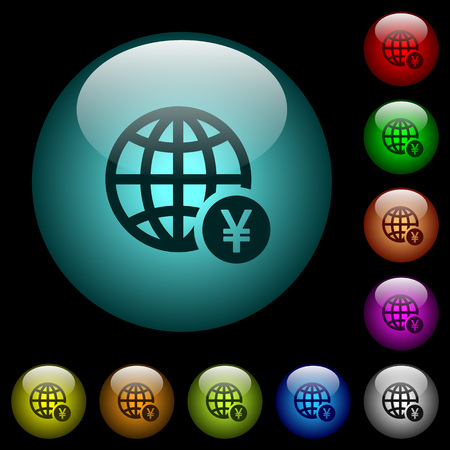 Online Yen payment icons in color illuminated spherical glass buttons on black background.