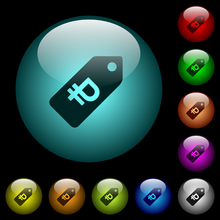 Ruble price label icons in color illuminated spherical glass buttons on black background. Vectores