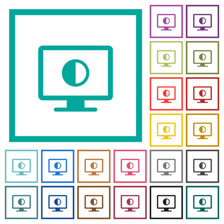 Adjust screen contrast flat color icons with quadrant frames on white background