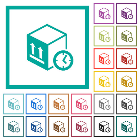 Package shipping time flat color icons with quadrant frames on white background