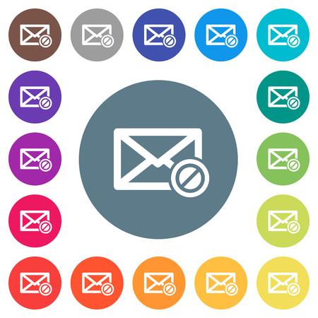 iconos planos de correo blanco bicolor en fondos de color redondo .