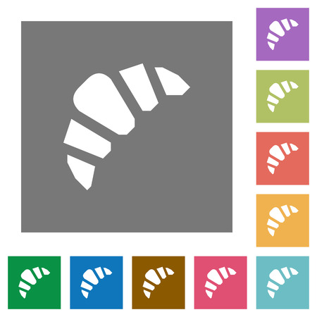 Bakery flat icons on simple color square backgrounds