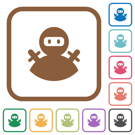 Ninja avatar simple icons in color rounded square frames on white background