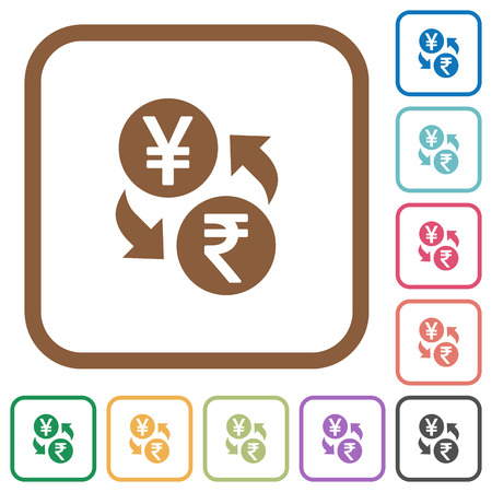 Yen Rupee money exchange simple icons in color rounded square frames on white background Illustration