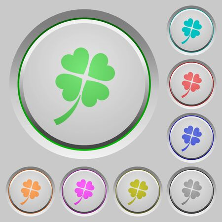 Four leaf clover color icons on sunk push buttons