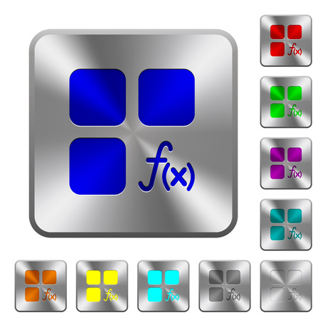Component functions engraved icons on rounded square glossy steel buttons