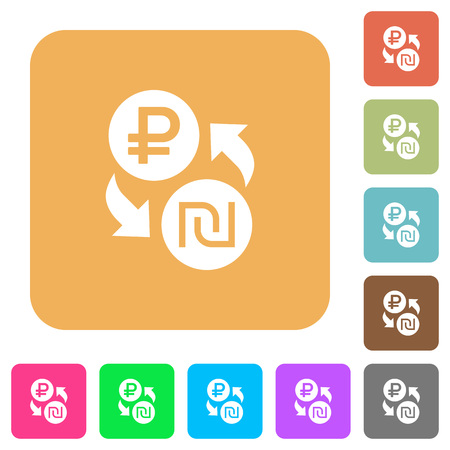 Ruble Shekel money exchange flat icons on rounded square vivid color backgrounds.