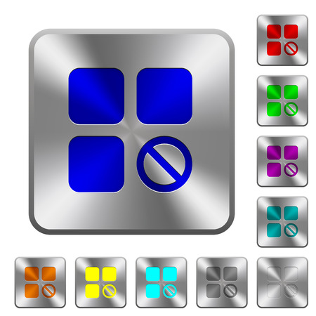 Component disabled engraved icons on rounded square glossy steel buttons Illusztráció