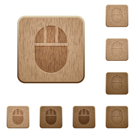 Three buttoned computer mouse on rounded square carved wooden button styles Illustration