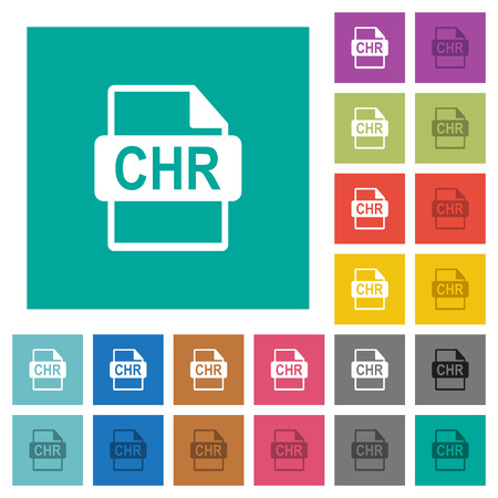 CHR file format multi colored flat icons on plain square backgrounds. Included white and darker icon variations for hover or active effects.