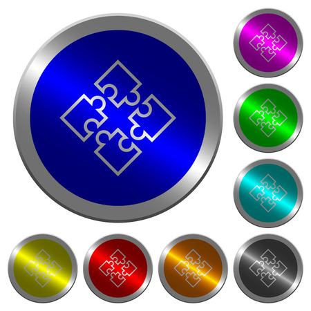 Puzzle pieces icons on round luminous coin-like color steel buttons