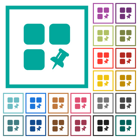 Pin component flat color icons with quadrant frames on white background Illusztráció