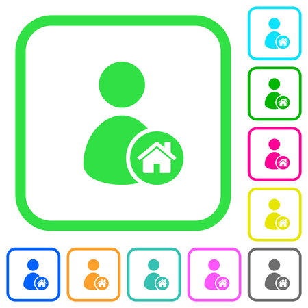 User home vivid colored flat icons in curved borders on white background