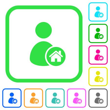 icônes plates de l & # 39 ; utilisateur coloré de couleur vive dans des courbes sur fond blanc