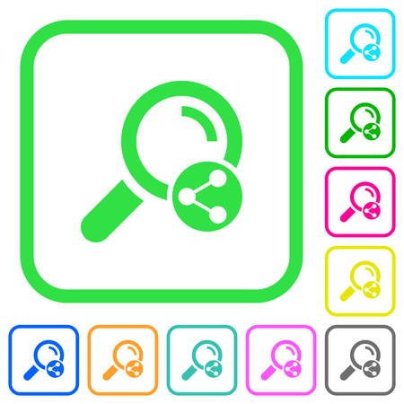 Share search vivid colored flat icons in curved borders on white background