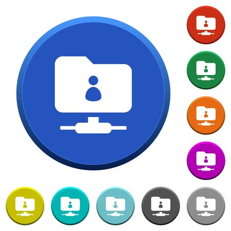 FTP directory owner round color beveled buttons with smooth surfaces and flat white icons