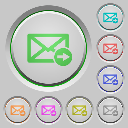 Mail forwarding color icons on sunk push buttons Ilustrace