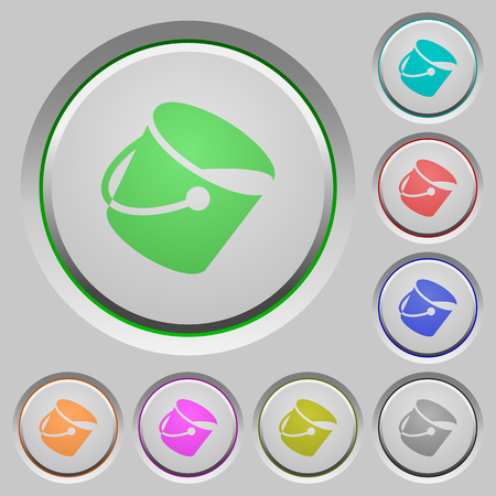 Paint bucket color icons on sunk push buttons