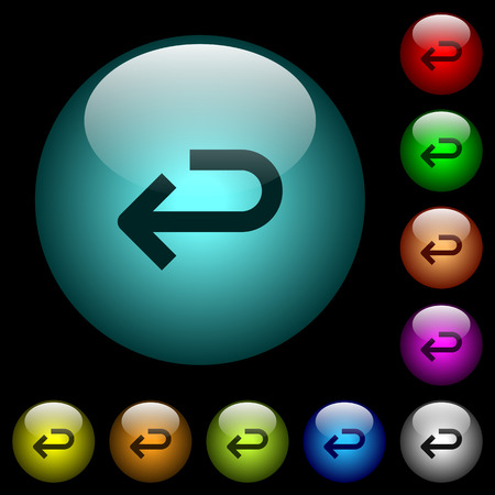 Back arrow icons in color illuminated spherical glass buttons on black background. Can be used to black or dark templates Ilustrace