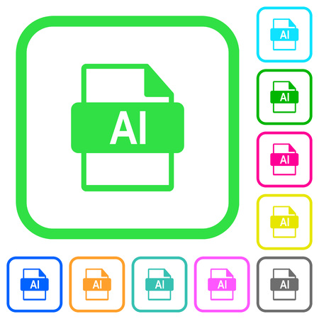 AI file format vivid colored flat icons in curved borders on white background Illustration