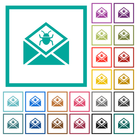 Open mail with malware symbol flat color icons with quadrant frames on white background