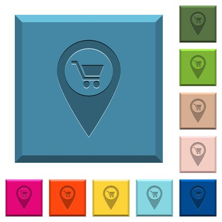 Department store GPS map location engraved icons on edged square buttons in various trendy colors