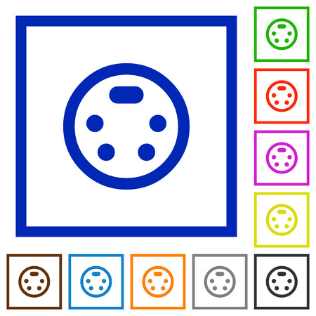 S-video connector flat color icons in square frames on white background