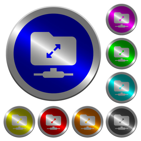 FTP uncompress icons on round luminous coin-like color steel buttons