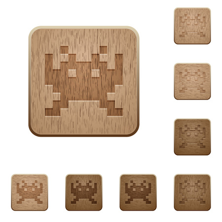 Video game on rounded square carved wooden button styles