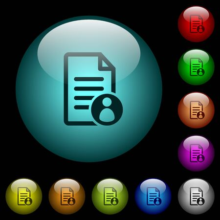 Document owner icons in color illuminated spherical glass buttons on black background. Can be used to black or dark templates Vectores