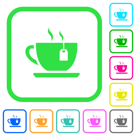 Cup of tea with teabag vivid colored flat icons in curved borders on white background