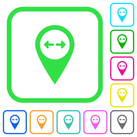 GPS map location distance vivid colored flat icons in curved borders on white background