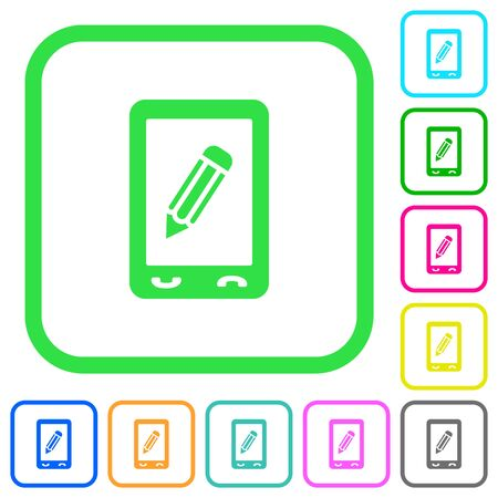 Mobile memo vivid colored flat icons in curved borders on white background