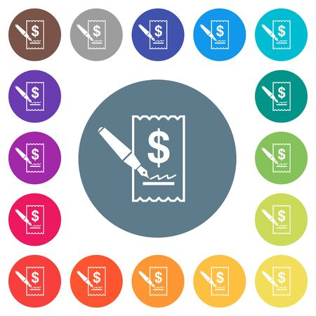 Signing Dollar cheque flat white icons on round color backgrounds. 17 background color variations are included.