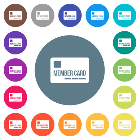 Member card flat white icons on round color backgrounds, color variations are included.