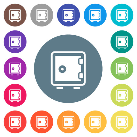 Single strong box flat white icons on round color backgrounds, color variations are included.