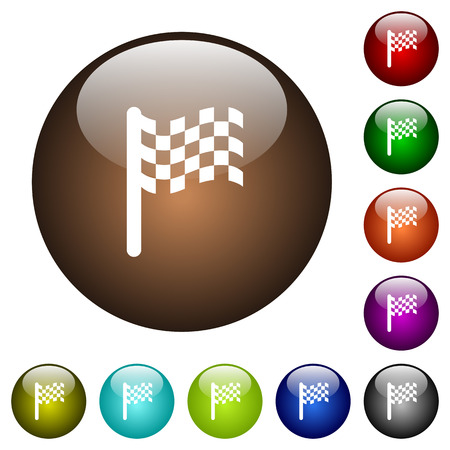 Race flag white icons on round color glass buttons