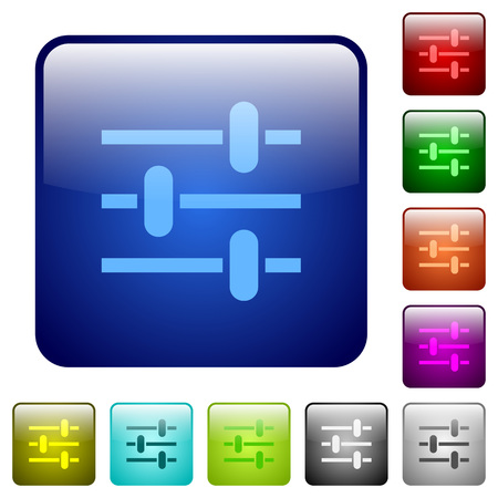 Adjustment icons in rounded square color glossy button set Stock Vector - 96509067