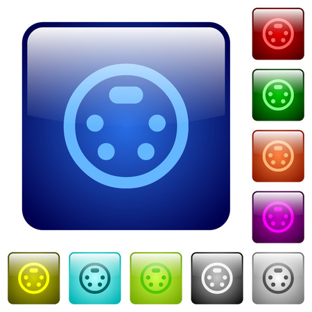 S-video connector icons in rounded square color glossy button set Ilustração