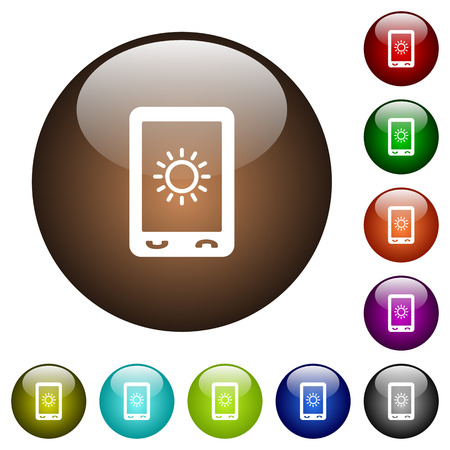 Mobile display brightness white icons on round color glass buttons Illustration