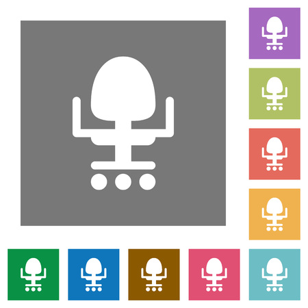 Office chair flat icons on simple color square backgrounds