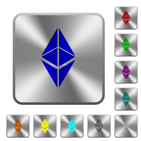 Ethereum classic digital cryptocurrency engraved icons on rounded square glossy steel buttons