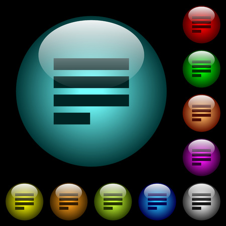 Text align justify last row left icons in color illuminated spherical glass buttons on black background. Can be used to black or dark templates.