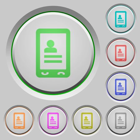 Mobile contacts color icons on sunk push buttons Ilustrace