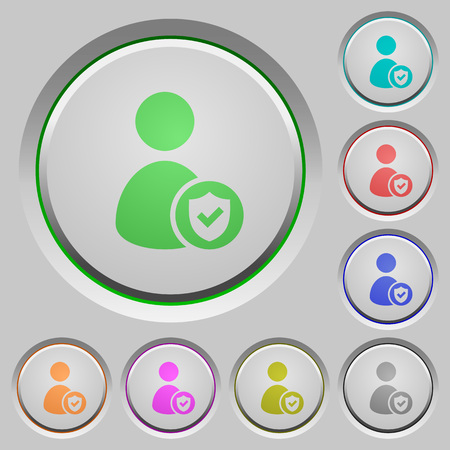 User account protected color icons on sunk push buttons Illustration