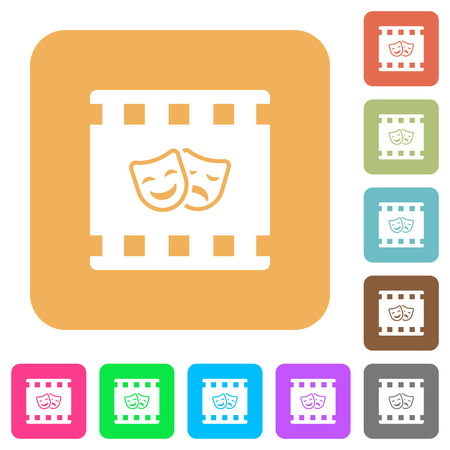 Theatrical movie flat icons on rounded square vivid color backgrounds.