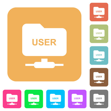 FTP authentication username flat icons on rounded square vivid color backgrounds. Illustration