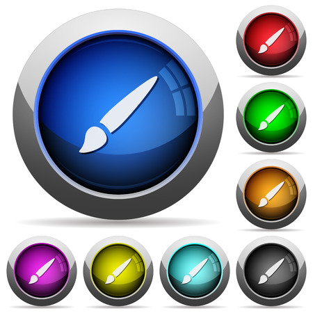 Brush icons in round glossy buttons with steel frames